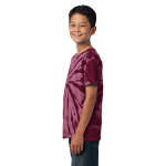 Maroon Port & Company Youth Essential Tie-Dye Tee as seen from the sleeveleft