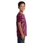 Maroon Port & Company Youth Essential Tie-Dye Tee as seen from the sleeveright