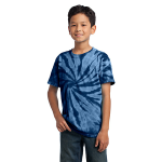 Navy Port & Company Youth Essential Tie-Dye Tee as seen from the front