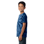 Navy Port & Company Youth Essential Tie-Dye Tee as seen from the sleeveleft