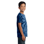 Navy Port & Company Youth Essential Tie-Dye Tee as seen from the sleeveright