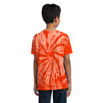 Orange Port & Company Youth Essential Tie-Dye Tee as seen from the back