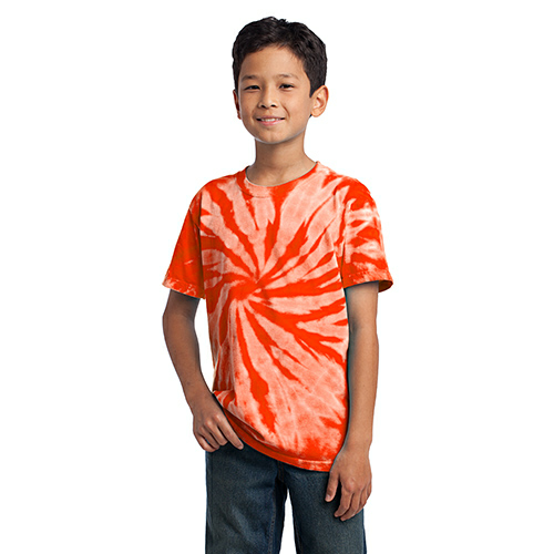 Orange Port & Company Youth Essential Tie-Dye Tee as seen from the front