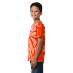 Orange Port & Company Youth Essential Tie-Dye Tee as seen from the sleeveleft