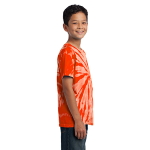 Orange Port & Company Youth Essential Tie-Dye Tee as seen from the sleeveright