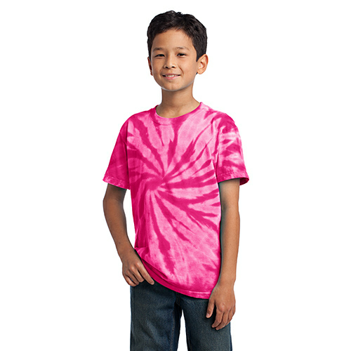 Pink Port & Company Youth Essential Tie-Dye Tee as seen from the front