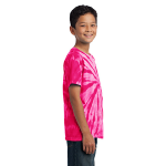 Pink Port & Company Youth Essential Tie-Dye Tee as seen from the sleeveright