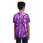Purple Port & Company Youth Essential Tie-Dye Tee as seen from the back
