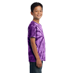 Purple Port & Company Youth Essential Tie-Dye Tee as seen from the sleeveright