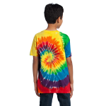 Rainbow Port & Company Youth Essential Tie-Dye Tee as seen from the back
