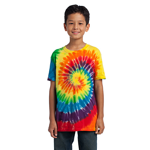 Rainbow Port & Company Youth Essential Tie-Dye Tee as seen from the front