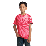 Red Port & Company Youth Essential Tie-Dye Tee as seen from the front