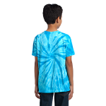 Turquoise Port & Company Youth Essential Tie-Dye Tee as seen from the back
