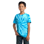 Turquoise Port & Company Youth Essential Tie-Dye Tee as seen from the front