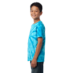 Turquoise Port & Company Youth Essential Tie-Dye Tee as seen from the sleeveleft
