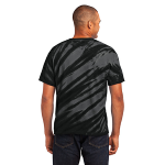 Black Port & Company Essential Tiger Stripe Tie-Dye Tee as seen from the back