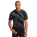 Black Port & Company Essential Tiger Stripe Tie-Dye Tee as seen from the front