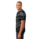 Black Port & Company Essential Tiger Stripe Tie-Dye Tee as seen from the sleeveleft