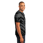Black Port & Company Essential Tiger Stripe Tie-Dye Tee as seen from the sleeveright