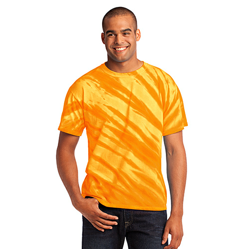 Gold Port & Company Essential Tiger Stripe Tie-Dye Tee as seen from the front