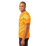 Gold Port & Company Essential Tiger Stripe Tie-Dye Tee as seen from the sleeveleft