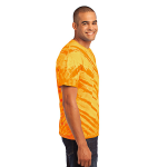 Gold Port & Company Essential Tiger Stripe Tie-Dye Tee as seen from the sleeveright