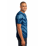 Navy Port & Company Essential Tiger Stripe Tie-Dye Tee as seen from the sleeveright