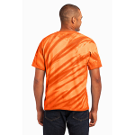 Orange Port & Company Essential Tiger Stripe Tie-Dye Tee as seen from the back