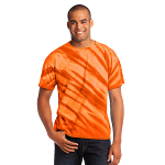 Orange Port & Company Essential Tiger Stripe Tie-Dye Tee as seen from the front