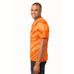Orange Port & Company Essential Tiger Stripe Tie-Dye Tee as seen from the sleeveleft