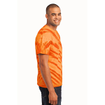 Orange Port & Company Essential Tiger Stripe Tie-Dye Tee as seen from the sleeveright