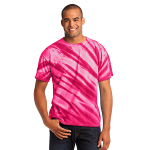 Pink Port & Company Essential Tiger Stripe Tie-Dye Tee as seen from the front