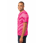 Pink Port & Company Essential Tiger Stripe Tie-Dye Tee as seen from the sleeveleft