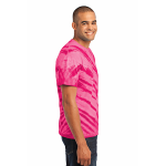 Pink Port & Company Essential Tiger Stripe Tie-Dye Tee as seen from the sleeveright