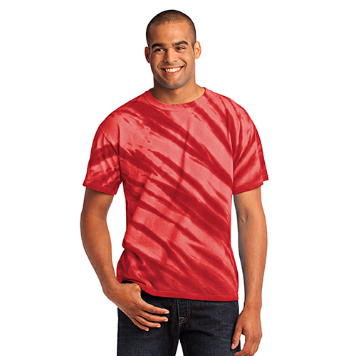 Red Port & Company Essential Tiger Stripe Tie-Dye Tee as seen from the front