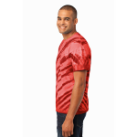 Red Port & Company Essential Tiger Stripe Tie-Dye Tee as seen from the sleeveleft