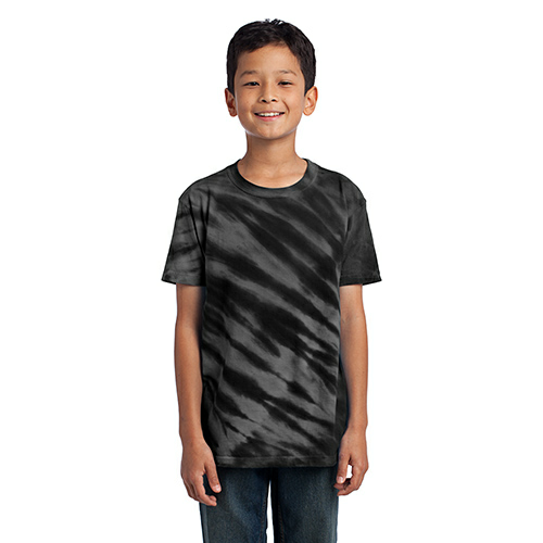 Black Port & Company Youth Essential Tiger Stripe Tie-Dye Tee as seen from the front