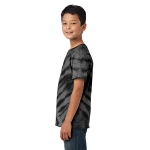 Black Port & Company Youth Essential Tiger Stripe Tie-Dye Tee as seen from the sleeveleft