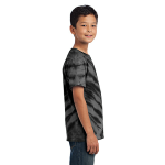 Black Port & Company Youth Essential Tiger Stripe Tie-Dye Tee as seen from the sleeveright