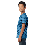 Navy Port & Company Youth Essential Tiger Stripe Tie-Dye Tee as seen from the sleeveleft
