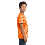 Orange Port & Company Youth Essential Tiger Stripe Tie-Dye Tee as seen from the sleeveright
