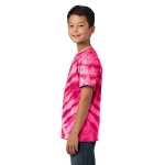 Pink Port & Company Youth Essential Tiger Stripe Tie-Dye Tee as seen from the sleeveleft