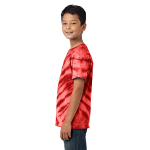 Red Port & Company Youth Essential Tiger Stripe Tie-Dye Tee as seen from the sleeveleft