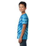 Royal Port & Company Youth Essential Tiger Stripe Tie-Dye Tee as seen from the sleeveleft