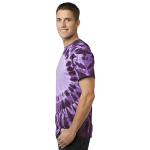 Purple Port & Company -Essential Window Tie-Dye Tee as seen from the sleeveleft