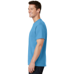 Aquatic Blue Port & Company 5.4-oz 100% Cotton T-Shirt as seen from the sleeveleft