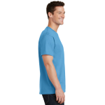 Aquatic Blue Port & Company 5.4-oz 100% Cotton T-Shirt as seen from the sleeveright