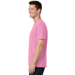 Candy Pink Port & Company 5.4-oz 100% Cotton T-Shirt as seen from the sleeveleft