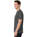Charcoal Port & Company 5.4-oz 100% Cotton T-Shirt as seen from the sleeveleft
