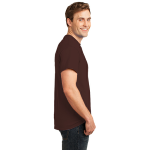 Dk Choc Brown Port & Company 5.4-oz 100% Cotton T-Shirt as seen from the sleeveright